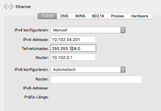 Screenshot System preference mac os x network