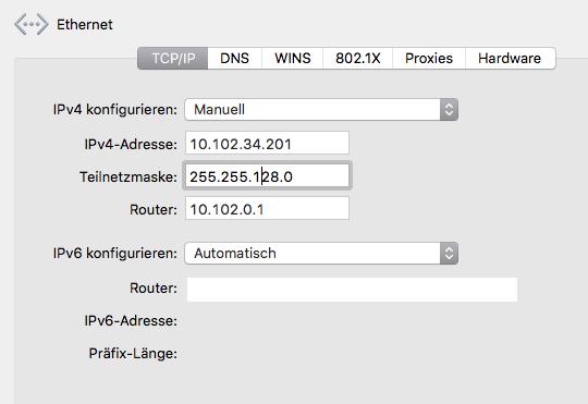 Screenshot System preference mac os x network